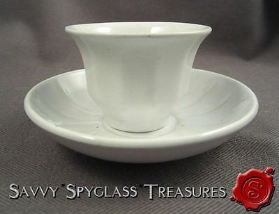 Antique White Ironstone Pearlware Tiny Child's Handleless Cup and Saucer Davenpo