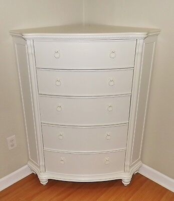 French Provincial Style White Highboy Dresser Tall Corner Chest Of Drawers