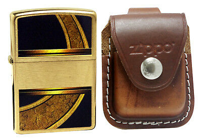 Zippo Lighter 28673 Gold And Black Brushed Brass + LPLB Brown Pouch Clip
