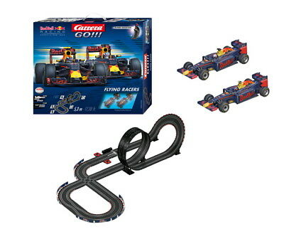 Carrera Go 1/43 Set Slot Car Red Bull Racing Flying Turns Car62426