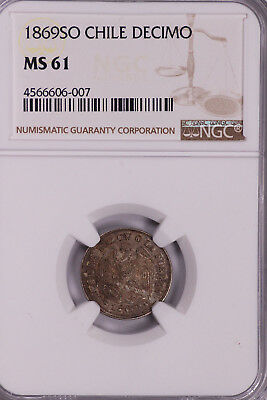 Ngc-Ms61 1869So Chile Decimo Silver Toned Beautiful