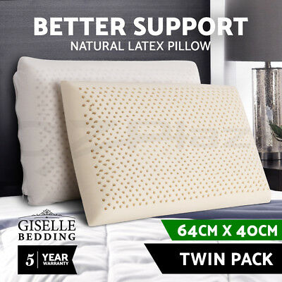 100% Natural Latex Pillow Bed Sleeping Contour Support Firm Classic Soft Cover