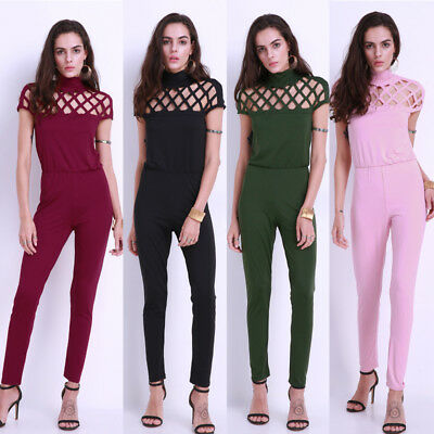 Celmia 8-22 Womens Sexy Choker High Neck Caged Sleeve Playsuits Jumpsuit Rompers
