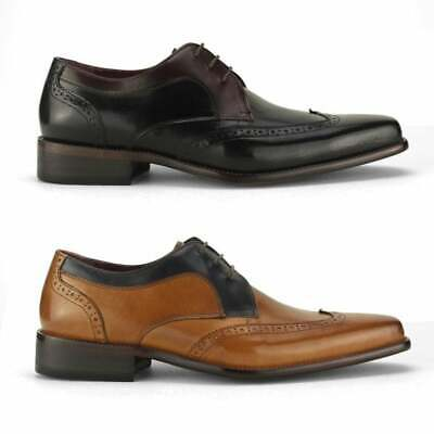 Azor SARDINIA Mens Smooth Perforated Leather Lace Up Casual Derby Brogue Shoes