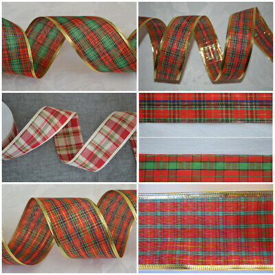Wired Tartan Christmas ribbon packaging decoration craft Present Bows