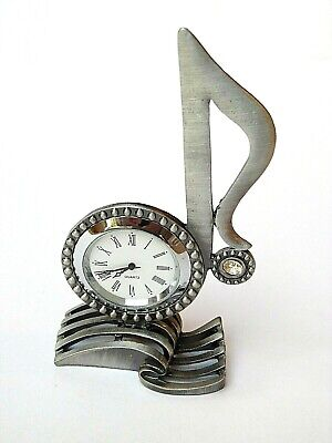 """MUSICIAN GIFT - NOVELTY MUSIC CLOCK-""""TREBLE CLEF STYLE"""" in SATIN SILVER in a BOX"""