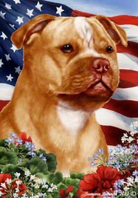 Large Indoor/Outdoor Patriotic I Flag - Org./Wh Staffordshire Bull Terrier 16246