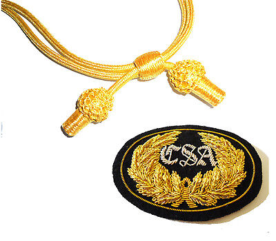 American Civil War Confederate CSA Officers Black Badge & Gold Slouch Hat Cord