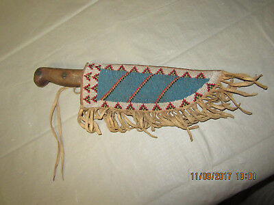 #2 Antique Vintage Native AMERICAN Beaded Sheath with Knife