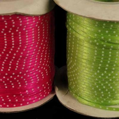 3mm  DOUBLE FACED SATIN RIBBON, 5m Pack Spotty Ribbon