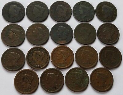 19 Coronet Head & Braided Hair Large Cents 1818/22/25/29/40+, 1C coins (101202Y)