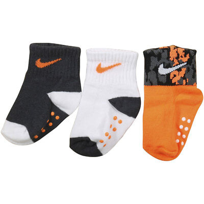Nike Infant Boys 3-Pair Swoosh Logo Orange Assorted Grippy Socks Sz 12-24 Months