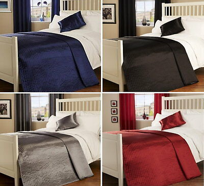 Luxury Plain Ribbed Faux Silk Satin Shine Quilted Bedspread Throw Blanket