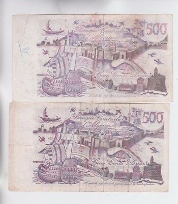 Algeria 2 old notes fine stains ink