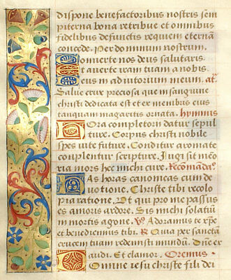 MEDIEVAL ILLUMINATED MANUSCRIPT BOOK OF HOURS LEAF c1470 LOVELY INITIALS, BORDER