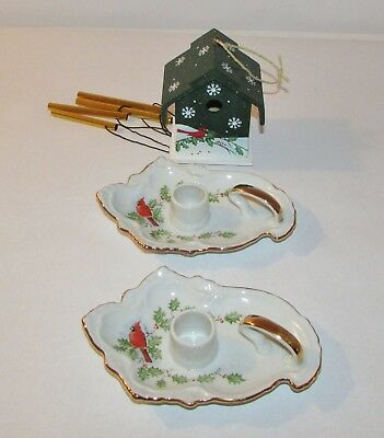 Christmas Cardinal Items, Two Porcelain Candles Holders & Wood Birdhouse Chimes