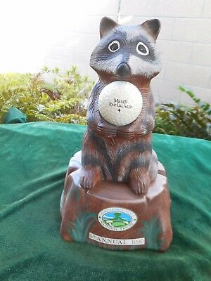 """AT&T Pebble Beach National Pro-Am 1990, 5th Annual Golf Decanter """"The Raccoon"""""""