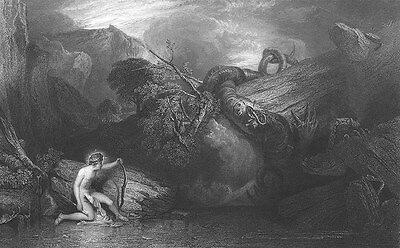 Greek God APOLLO KILLS GIANT PYTHON ~ Antique 1860 Mythology Art Print Engraving
