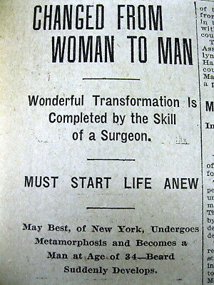 1905 newspaper wth Earliest SEX CHANGE OPERATION Transgender WOMAN becomes a MAN