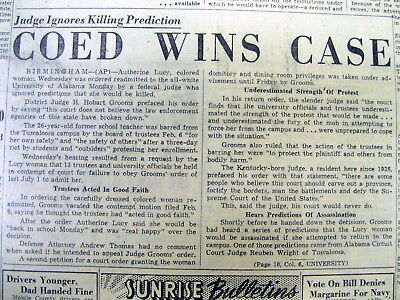 2 1956 Pro-Segregation AL newspapers 1st NEGRO ADMITTED to UNIVERSITY of ALABAMA
