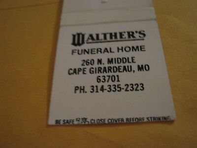 Vintage Walther's Funeral Home Cape Girardeau MO Since 1864 empty Matchbook