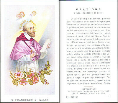 Holy Card Santino Image Pieuse - S. San Francesco Di Sales + Orazione