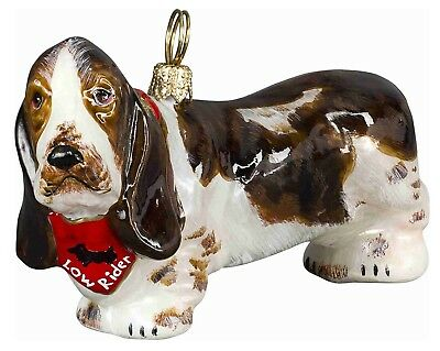 Basset Hound Dog with Red Low Rider Bandana Polish Glass Christmas Ornament New