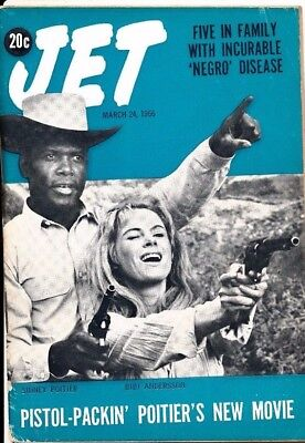 3/24/1966 Jet Magazine pistol packing SIDNEY POITIER SICKLE CELL NEGRO DISEASE