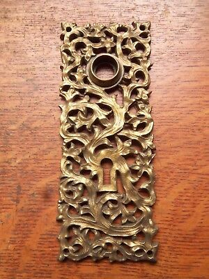 Antique Fancy Victorian Craftsman Brass Doorplate Door Plate c1885  Yale Towne