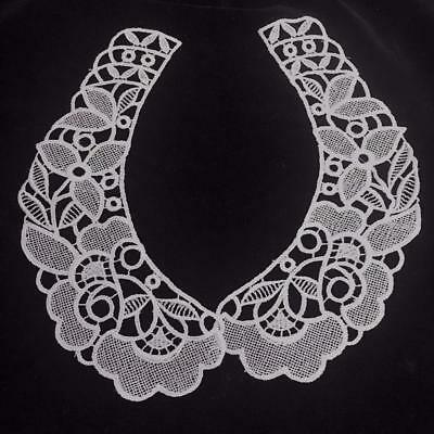 "Vintage Lace Collar 2 Piece 9 1/2 "" Each Piece Machine Crocheted"