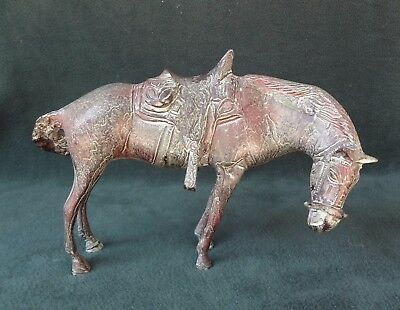 BRONZE HORSE Antique Or Vintage Large Size Green Patina Asian Look Estate Item