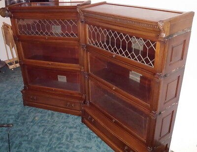 "Pair Antique Mahogany Globe Wernicke Stacking Bookcases "" IDEAL """