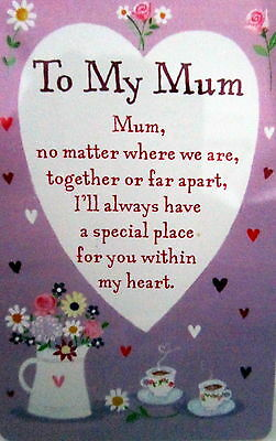 "Heartwarmer Keepsake Message Card ""to My Mum"" Inspirational Poem Christmas Gift"