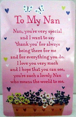"Heartwarmer Keepsake Message Card ""to My Nan"" Inspirational Verse For Christmas"