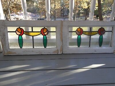 "MA12-293 Lovely Older Leaded Stained Glass ""English Roses"" Window 3 Available"
