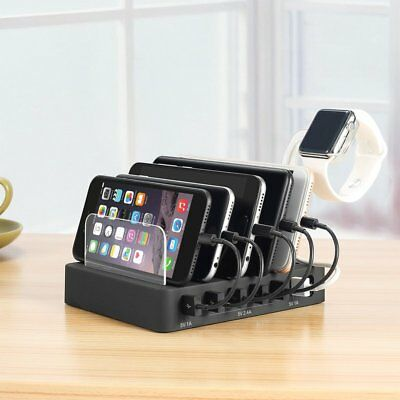 6 Multi Port USB Hub Charger Charging Dock Station Stand 60W  Tablet & Phone XU