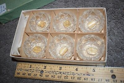 Vintage Bohemian Glass Salt Cellars Set of 6 with 4 Spoons Original Box