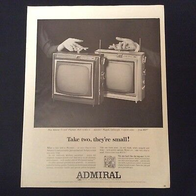 """1964 Admiral Print Ad - Portable Televisions - The 11"""" Playmate In 5 Colors"""