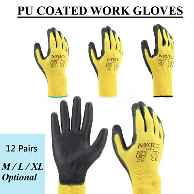 12 Pairs Yellow Nylon PU Coating Safety Work Gloves Garden Builders Grip M/L/XL