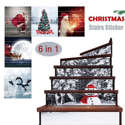3D 6pcs/set Christmas Snowman PVC Self-adhesive Stair Stickers Xmas Home Decor