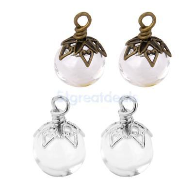 4pcs Clear Round Bottle Charm Pendant and Vintage Beaded Jewelry Caps