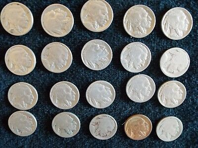 Buffalo Nickel Lot of 20 Mixed Dates.   Nickels 5 Cents - Old & Collectible!