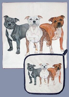 Dish Towel & Pot Holder - Staffordshire Bull Terrier Trio DP512
