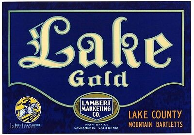 LAKE GOLD Brand, Lake County Bartlett Pears ***AN ORIGINAL PEAR CRATE LABEL***