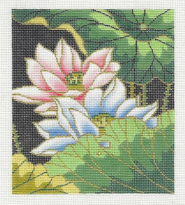*NEW* Oriental Lotus Blossoms handpainted Needlepoint Canvas ~ BG Insert  by LEE