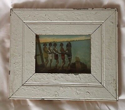 """1890's Reclaimed Wood Picture Frame 5"""" x 7"""" Shabby Wooden Chic White 680-17"""