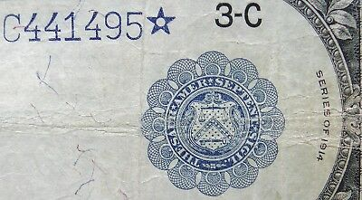 1914 Large Size $5 STAR Federal Reserve Note