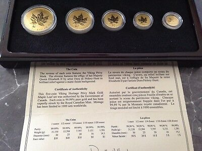 Maple Leaf  Privy Mark Viking 2001 Gold 1/20 1/10 /4 1/2 + 1 Unze  nur 1.000 St.