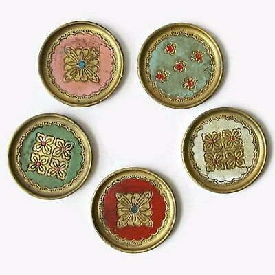 Lot of 5 Vintage Made In Italy Hand Painted Multi Color Coasters Trade Mark OFM