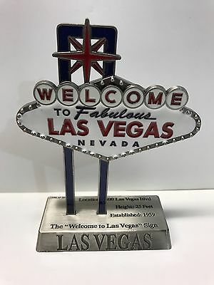 Replica Welcome Las Vegas Sign Desk Paper Weight Pewter 5 inch Miniature Color